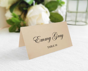 folded wedding name cards