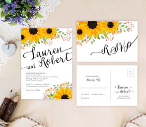 Sunflower rustic wedding invites
