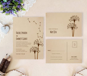 Rustic wedding invitatations with dandelion