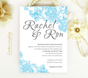 Blue lace wedding invitation