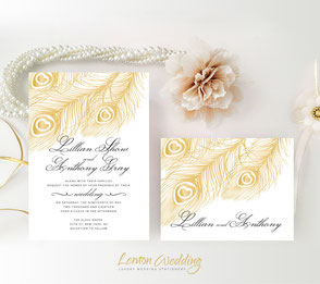 Peacock wedding invitations | Gold peacock wedding