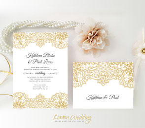 Gold Lace Wedding Invitations Cards