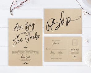 invitations printed on kraft cardstock