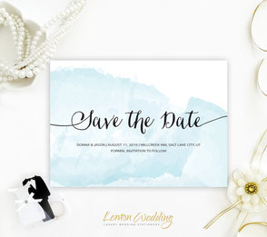 Watercolor save the date invitations