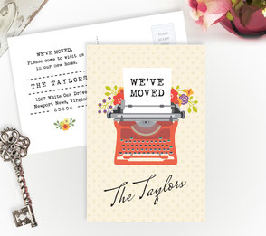Typewriter New Home Cards