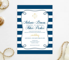 Nautival wedding invitation