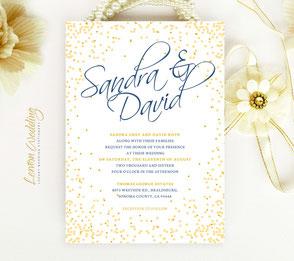 Gold wedding invitations | confetti invites