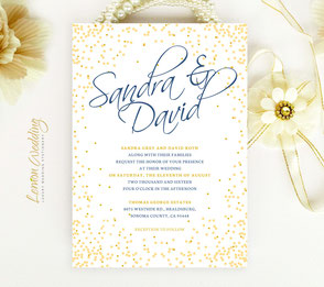 Gold wedding invitations | confetti invites