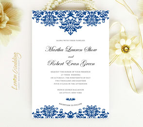 Royal blue wedding invitations | Elegant wedding invitations | Damask wedding invitations
