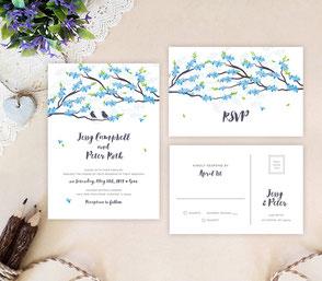 Bird themed wedding invitations