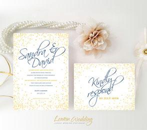 confetti wedding invitations printed | Gold invitations