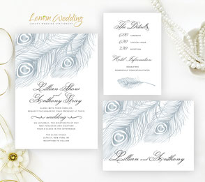 Feather invitations | Silver wedding invites