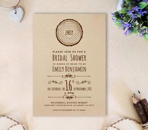 rustic wedding shower invitations