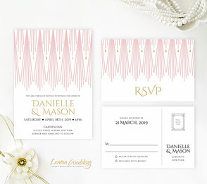Blush pink and gold wedding invites