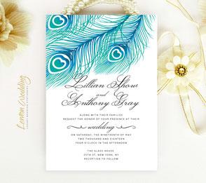 Peacock wedding invitations | cheap invites