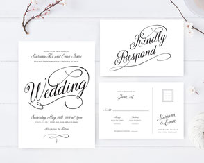 Calligraphy classic wedding invitations