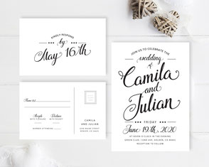 Classic wedding invitations and RSVP cards