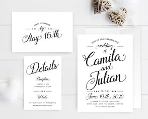 Classic wedding invitations + RSVP + details cards