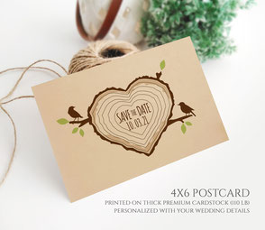 Love birds wedding save the date postcards