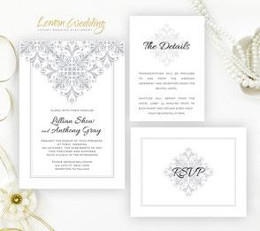 Silver lace wedding invitation