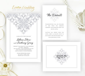 Silver lace wedding invitation kits