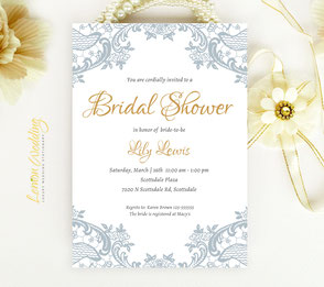 Elegant Bridal Shower Invitations with lace