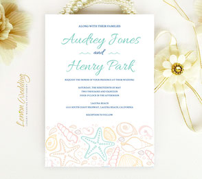 Beach wedding invitations with starfish