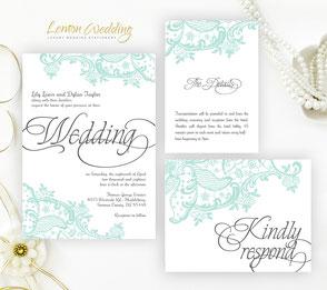 Mint green invitations | lace wedding