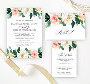 Floral wedding invitations sets