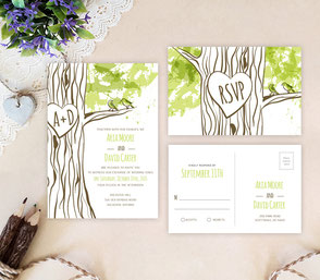Rustic wedding invites | love bird themed