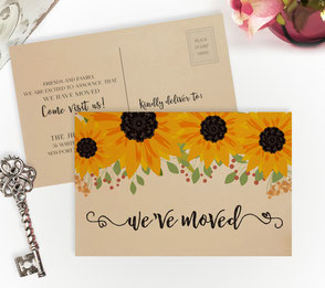 sunflower change of address cards