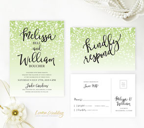 Green and black wedding invitations