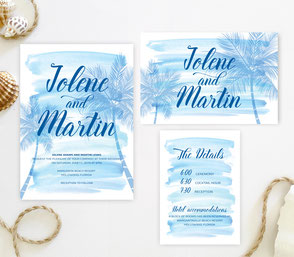Palm tree wedding invitation packages