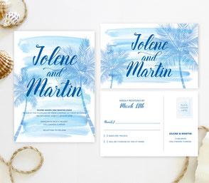 Palm tree theme wedding invites