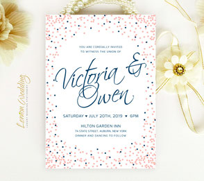 Navy and pink wedding invites