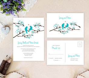 Love birds wedding invitations