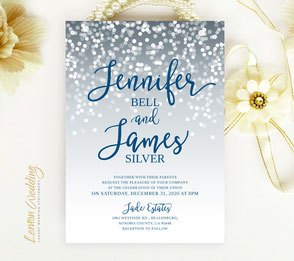 Silver and blue wedding invitations