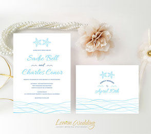 Starfish theme wedding invitations with RSVP