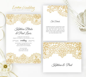 Gold lace wedding invitation sets