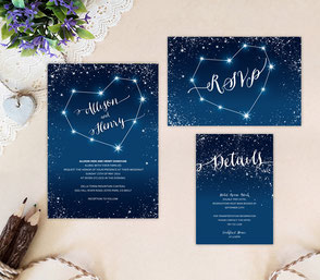 Starry night wedding invitation cards