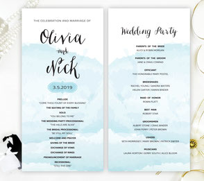 Watercolour wedding programs