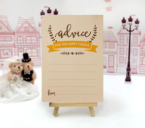 Brown and yellow wedding advice cards