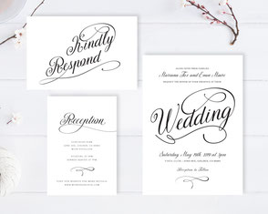 Calligraphy wedding invitation packages