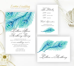 peacock wedding invitations | feather themed invitations