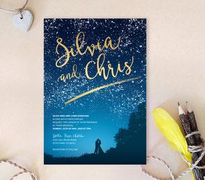 Starry night wedding invites