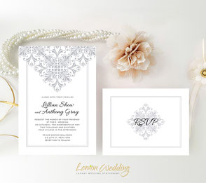 Silver and white wedding invitations | lace themed