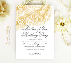 Peacock wedding invitations cheap | feather themed
