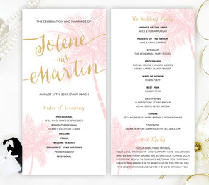 Palm tree wedding program