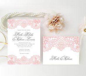 Coral and grey wedding invites