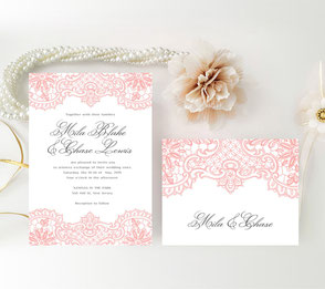Coral and grey lace wedding invites